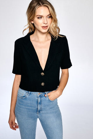 Not Your Dad's Tan Button Up Crop Top