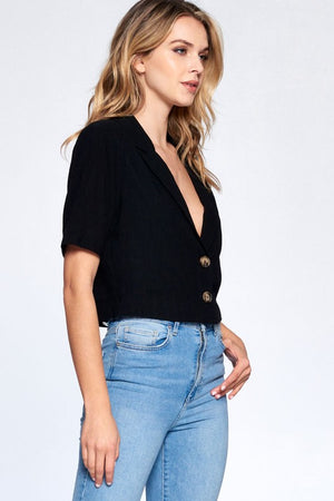 Not Your Dad's Black Button Up Crop Top
