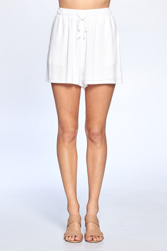 Keep It Simple White Linen Drawstring Waist Shorts