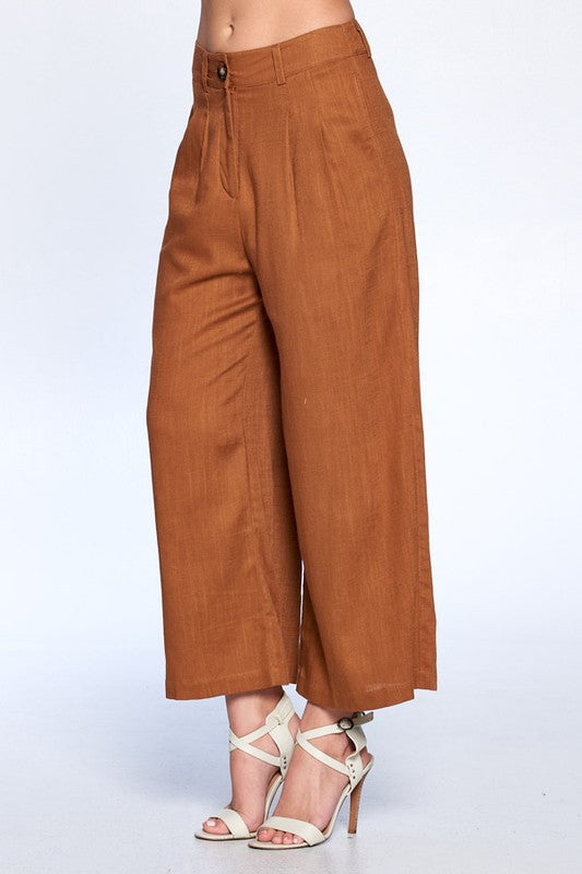 Take Flare of Business Light Brown Wide Leg Culottes