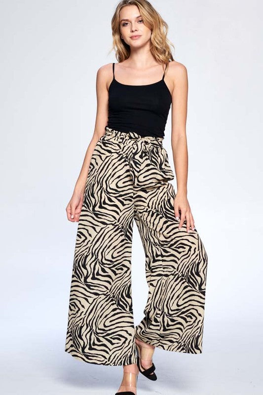Herd The News Tan & Black Zebra Print Wide Leg High Waisted Pants
