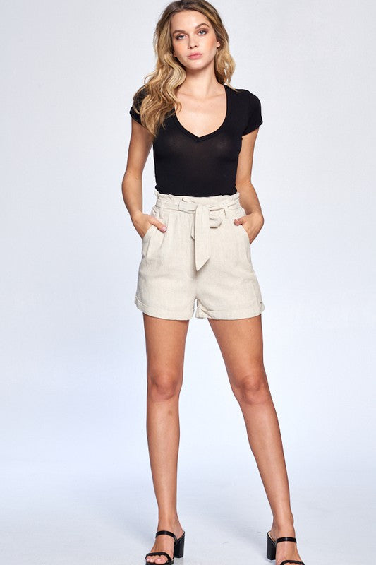 Light Tan High Waisted Linen Shorts with Tie Waist