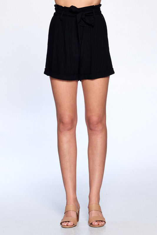 Black High Waisted Linen Shorts with Tie Waist