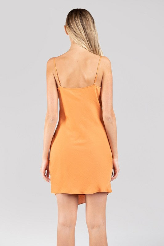Orange You Cute Silk Cowl Neck Midi Dress