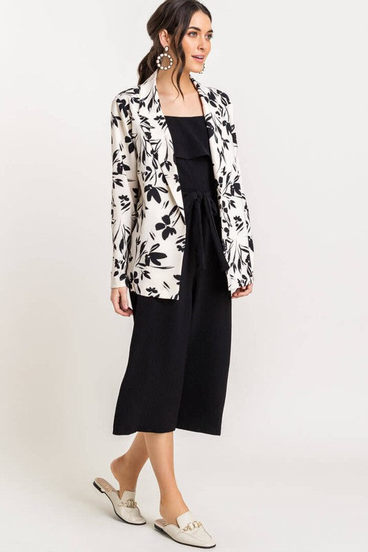 Best of The Bunch White Floral Open Blazer