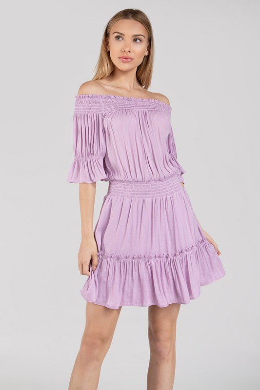 Lavender Off The Shoulder Smocked Dress with Elastic Waist