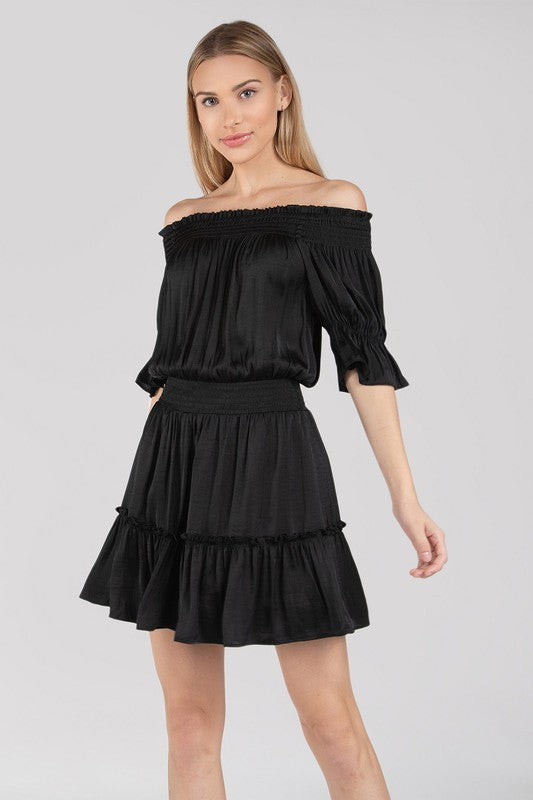 Black Off The Shoulder Smocked Dress with Elastic Waist