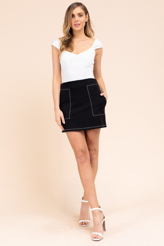 Opposites Attract Black Contrast Thread Mini Skirt with Pockets