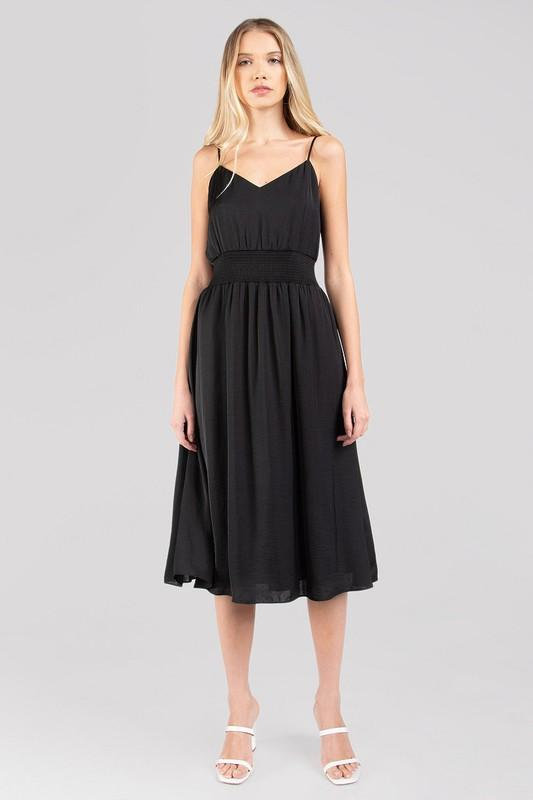 All You Need Black Simple Midi Dress with Smocked Waist