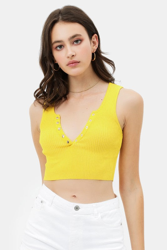 Let it V Yellow V Neck Ribbed Crop Top