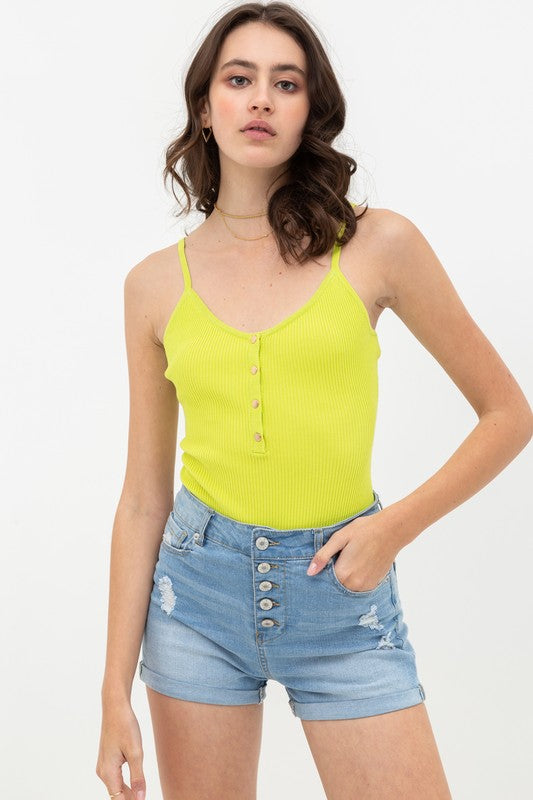 Snap It Like It's Hot Lime Green Ribbed Bodysuit with Snaps