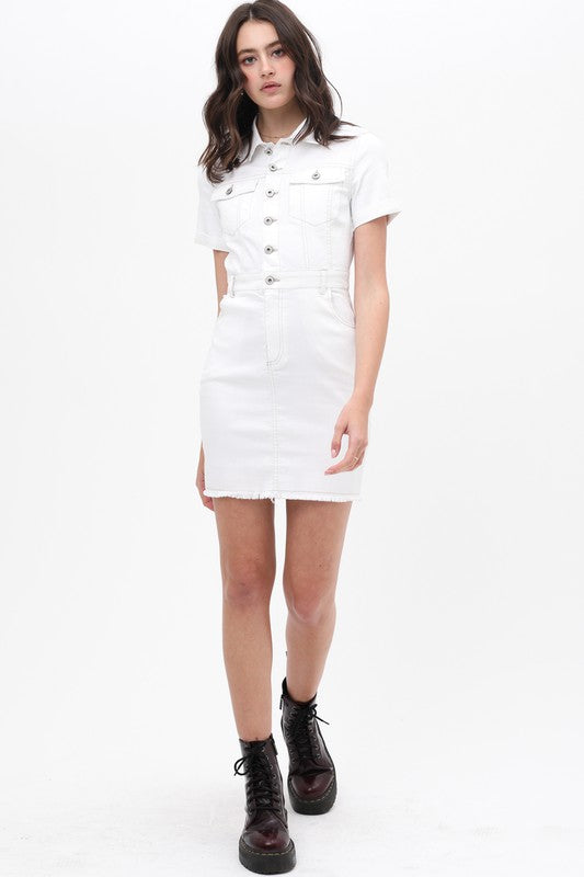 Work It White Denim Short Sleeve Utility Dress