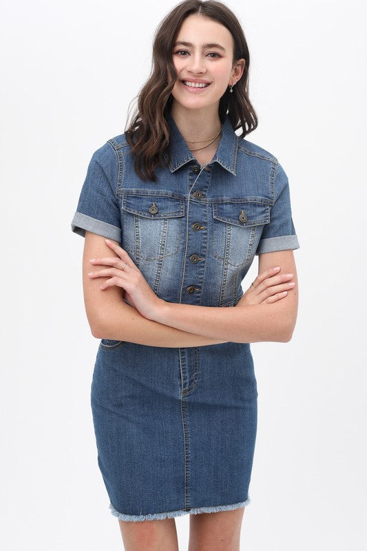 Work It Dark Blue Denim Short Sleeve Utility Dress