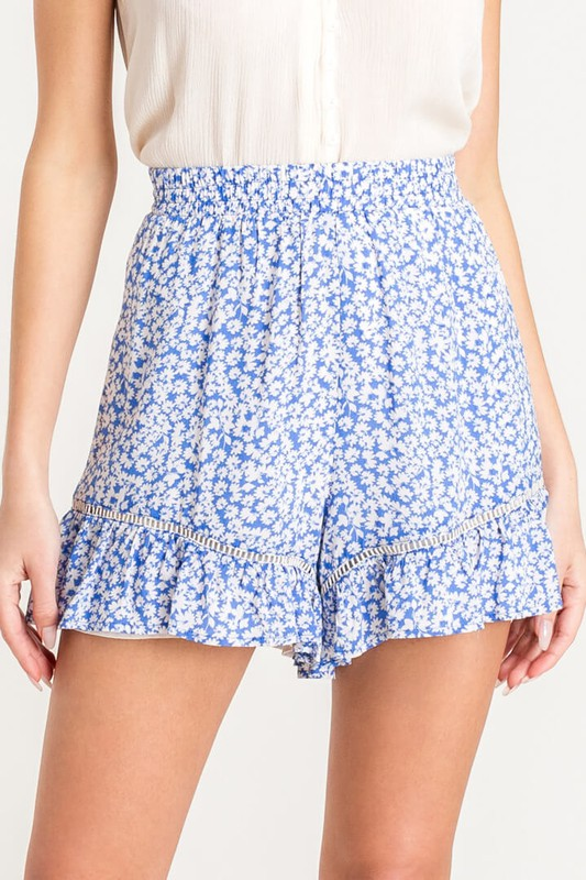 Away With You Blue Floral Print Flowy Ruffle Shorts