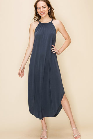 Plisse Be Mine Navy High Neck Midi Shimmer Dress