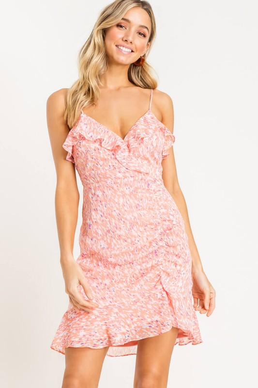 Ready & Ruched Pink Ruffled Strappy Mini Dress