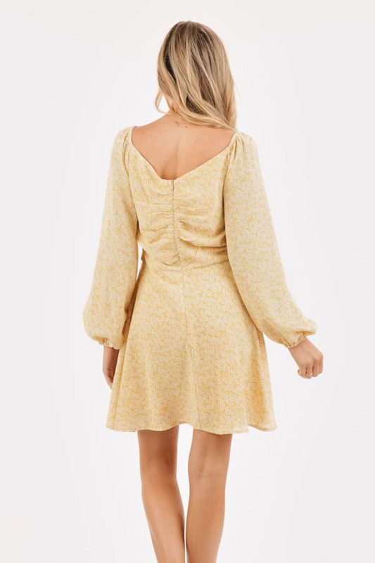 Big Be-Sleever Yellow Peasant Long Sleeve Floral Mini Dress