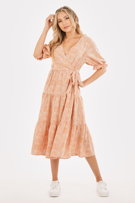 Tier She Comes Peach Dot Print Midi Wrap Dress with Puffed Sleeves