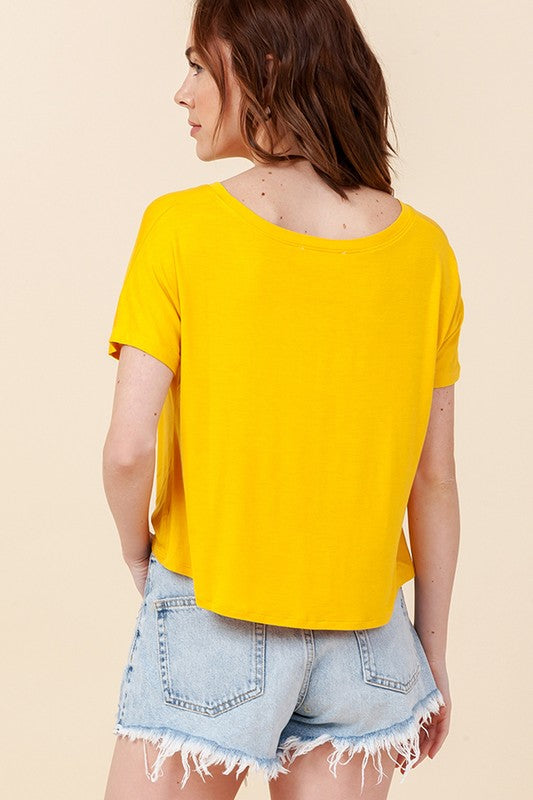 Stay Golden Yellow Short Sleeve Knotted T Shirt