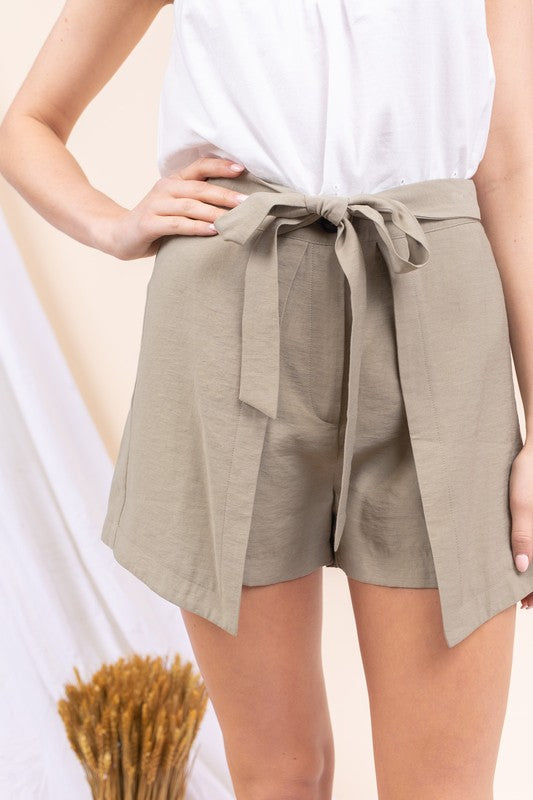 Olive Green Linen Shorts with Overlap Fabric