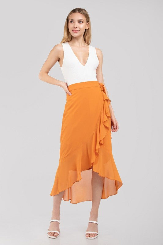 Rise & Shine Orange Wrap Midi Skirt with Ruffles