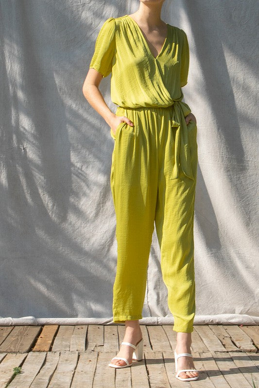 Tie & Tie Again Lime Green Short Sleeve Belted Jumpsuit