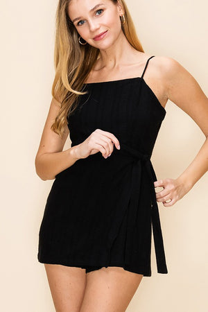 Square With Me Black Square Neckline Wrap Skort Romper