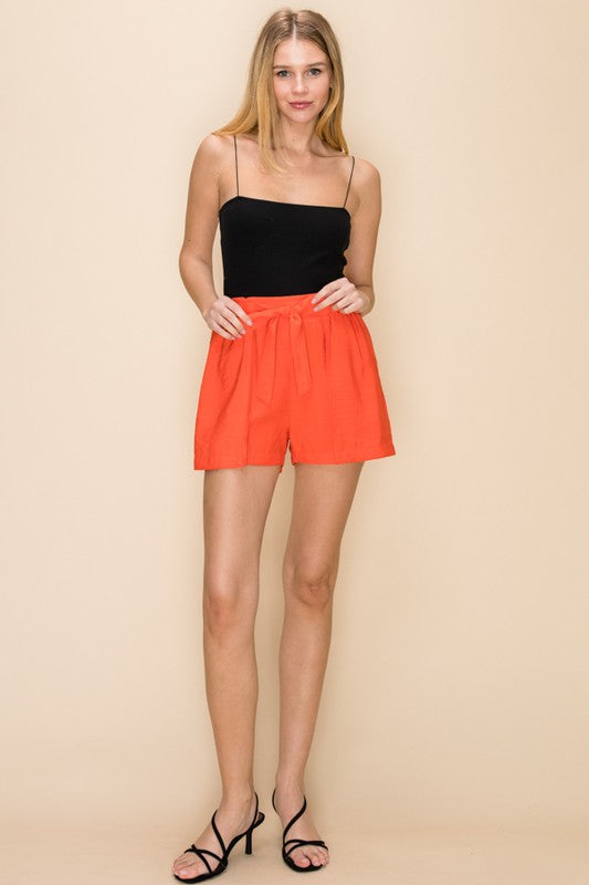 Give It a Tie Orange High Waisted Overlay Shorts with Tie Belt