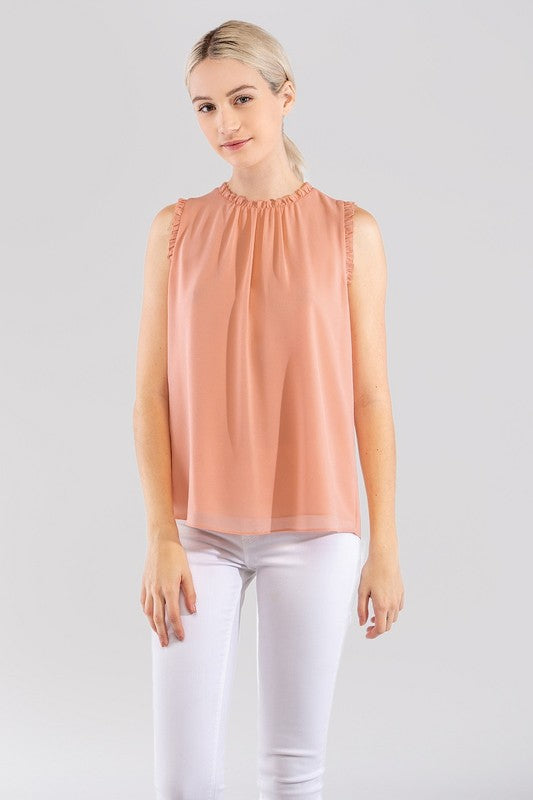 Light Pink Ruffle Pleated Neckline Top