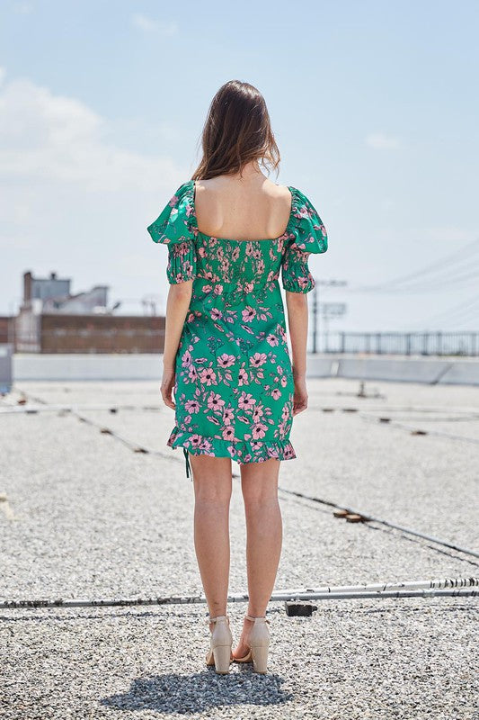 Growing on You Green & Pink Puff Sleeve Floral Mini Dress