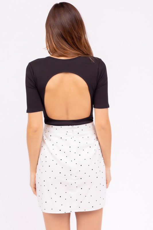 Out in The Open Black Quarter Sleeve Open Back Bodysuit