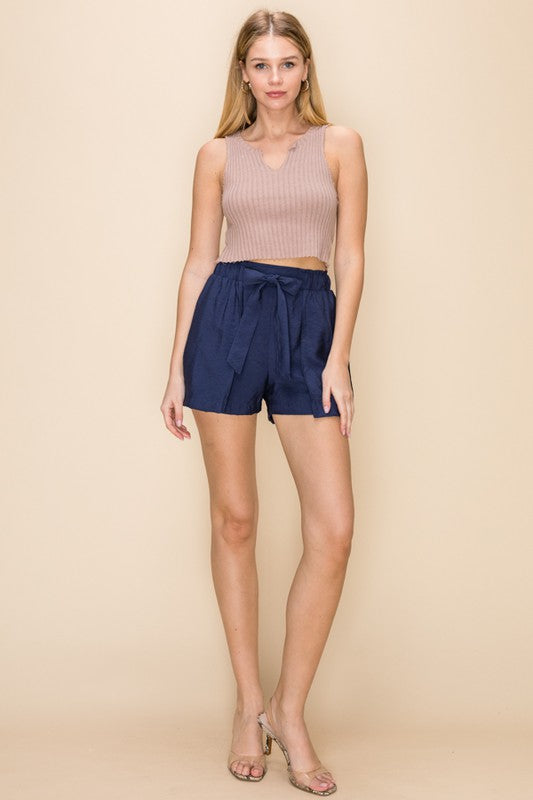 Give It a Tie Navy High Waisted Overlay Shorts with Tie Belt