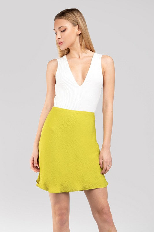 When The Sun Goes Down Lime Green Silk Mini Skirt