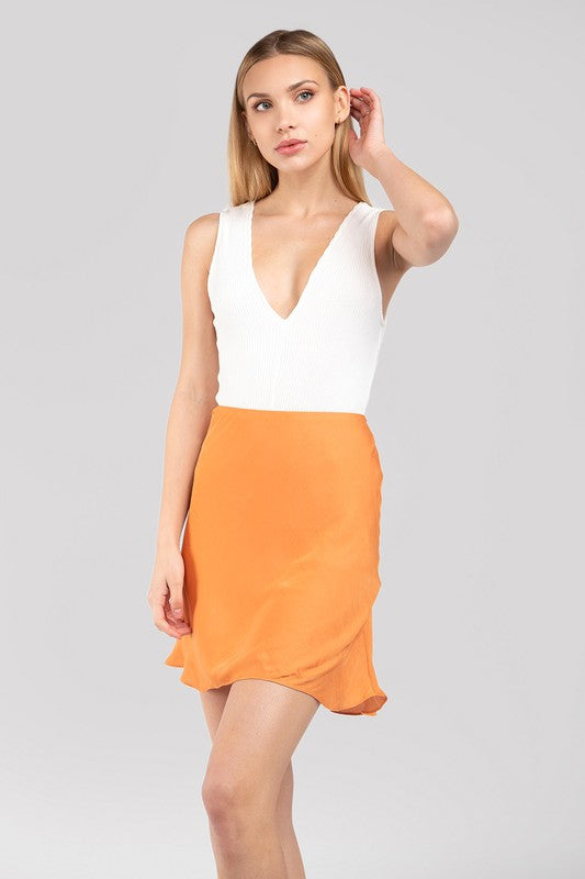 When The Sun Goes Down Orange Silk Mini Skirt