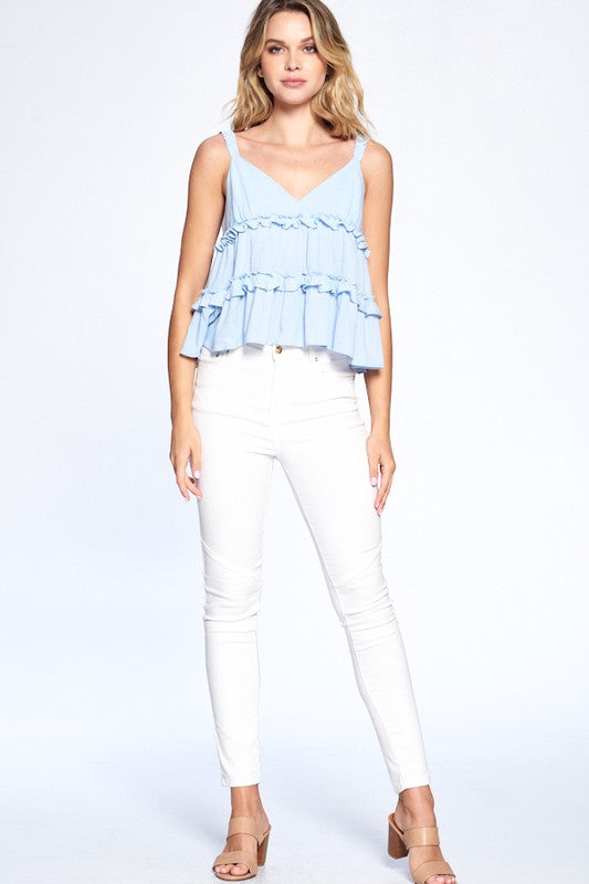 Party Over Tier Light Blue Ruffle Tiered V Neck Tank