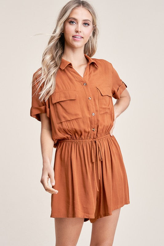 Rust Utility Short Sleeve Romper with Elastic Waist