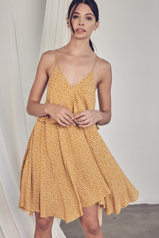 I'm Mrs. Brightside Yellow Floral Sleeveless V Neck Dress