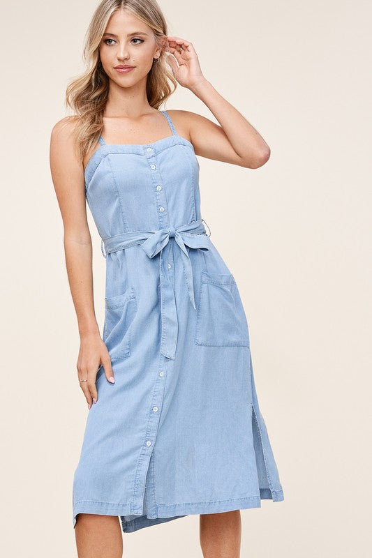 Light Denim Button Up Midi Dress with Tie Waist