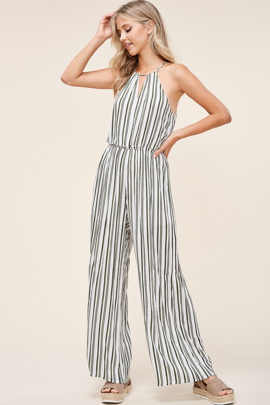 Black & Peach Striped High Neck Sleeveless Jumpsuit
