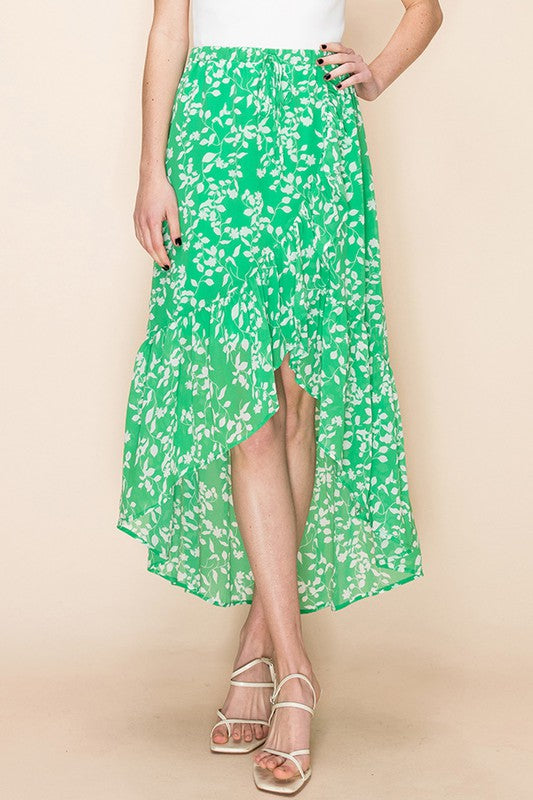Plant Help Myself Kelly Green Floral Maxi Skirt with Ruffles