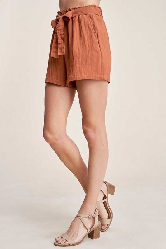 After Sunset Rust High Waisted Flowy Shorts with Tie Belt