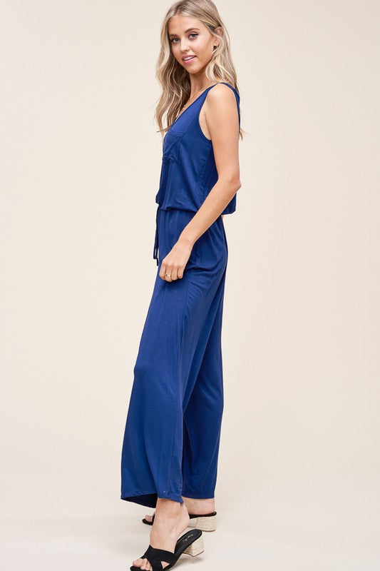 Jump Into Bed Navy Sleeveless Jumpsuit with Drawstring Waist