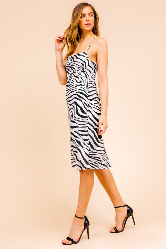 Drive Em' Wild Zebra Silk Midi Dress