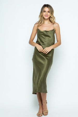 Cowl Me Later Olive Green Silk Cowl Neck Midi Dress