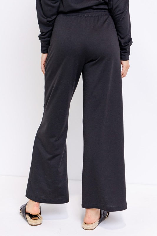 Chilled Out Black Wide Leg Lounge Pants with Elastic Waist