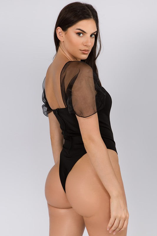 Sheer for A Good Time Black Short Sleeve Bodysuit