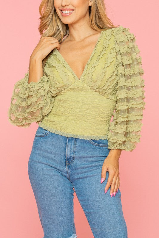 Sheer for it Light Green Puff Sleeve Ruched V Neck Top