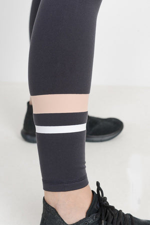 Charcoal Contrast Stripe High Waisted Workout Leggings