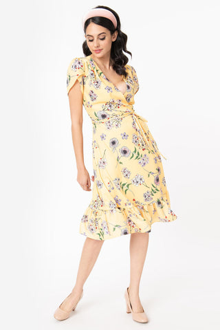 Mustard & White Polka Dot Liberated Fit & Flare Dress by Smak Parlour
