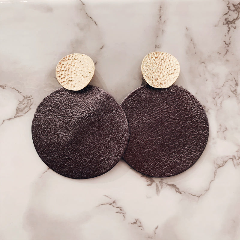 Faux Leather Gold Pendant Drop Earrings